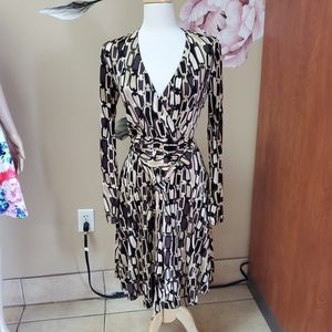 Chetta B Patterned Long Sleeve Dress